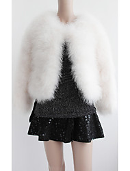 Long Sleeve Collarless Ostrich Fur Casual Jacket(More Colors)
