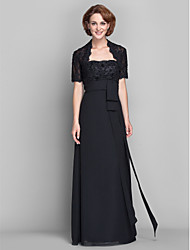 Lanting Sheath/Column Plus Sizes / Petite Mother of the Bride Dress - Black Floor-length Short Sleeve Chiffon / Lace
