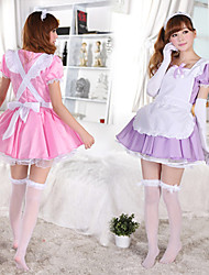 Cosplay Costumes Uniforms Festival/Holiday Halloween Costumes Purple / White / Pink Dress / Headpiece / Apron Cotton