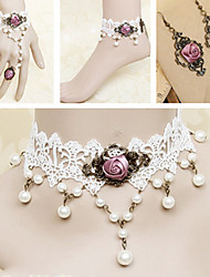 Handmade White Lace Pearl Fuschia Rose Sweet Lolita Accessories Set
