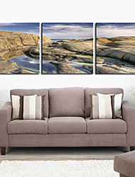 Stretched Canvas Art Landscape Mountain and Blue Sky Set of 3