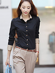 Women's Casual Shirts , Polyester Casual Long Sleeve MISS Mary