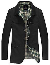 Moda Sólidos Windbreaker cores dos homens PPZ (Black)