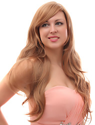 Capless Mixed Hair Long Wavy Golden Brown Hair Wigs