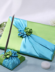 Libro de Visitas / PlumaFaja / Piedras) -Tema Jardín / Tema Floral Azul 21cm x 16cm1 página para los nombres de los novios1 página para