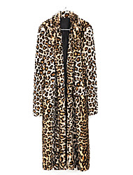 Beautiful Long Sleeve Turndown Faux Fur Party/Casual Coat