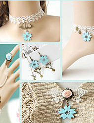 Handmade Baby Blue Sakura White Lace Sweet Lolita Accessories Set