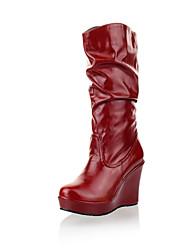 Zapatos de mujer - Plataforma - Plataforma / Botas a la Moda - Botas - Casual - Cuero Sintético - Negro / Marrón / Rojo