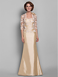 Trumpet/Mermaid Plus Sizes Mother of the Bride Dress - Champagne Floor-length Half Sleeve Lace/Taffeta