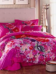 HANTING lindo Floral Print cutton 4 Pcs Set: capa de edredon, colcha fronha * 2 0062