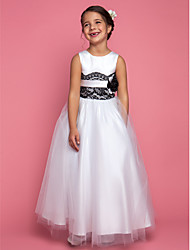 A-line Princess Floor-length Flower Girl Dress - Satin Tulle Jewel with Flower(s) Lace Sash / Ribbon