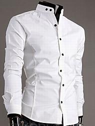Хлопковая мужская рубашка с воротником-стойкой