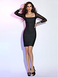 Cocktailparty Festtage Kleid - Kleines Schwarzes Kleid Eng anliegend Quadratisch Kurz / Mini Kunstseide mit Kristall Verzierung