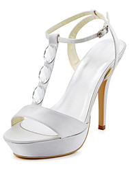 Beautiful Satin Stiletto Heel With T-Straps And Rhinestone Open Toe Slingbacks Sandals Wedding Shoes(More Colors)