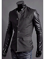 Veste Noire Patchwork Notch Neck Men