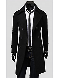 LANGDENG Men's Black High Quality  Big Size Modern Double Breast Long Jacket
