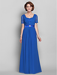 A-line Plus Size / Petite Mother of the Bride Dress Floor-length Short Sleeve Chiffon / Lace withBeading / Lace / Crystal Brooch / Side