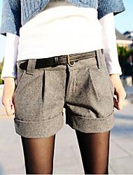 Frauen Roll Up Hem Bundfalten Shorts