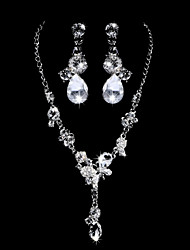 Gleaming Alloy Silver Plated With Clear Rhinestone Wedding Bridal Jewelry Set(Including Necklace,Earrings)