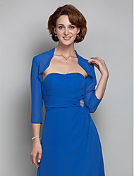 Women's Wrap Shrugs 3/4-Length Sleeve Chiffon Royal Blue Wedding / Party/Evening Wide collar Draped Open Front