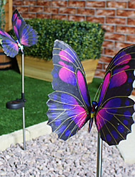 Color Changing Set of 2 Solar Fibre Optic Butterfly Stake Lights