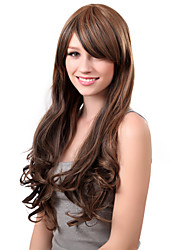 Capless Long Synthetic Mix Color Curly Hair Wig Side Bang