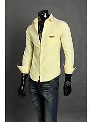 Camisas dos homens camisa de mangas compridas bolso lata decorativa moda masculina 5 cores M - XXL