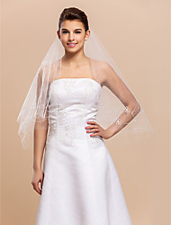1 Layer Elbow Wedding Bridal Veil With Cut Edge