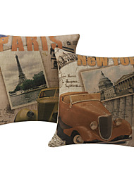 Комплект из 2 Cityscape Нью-Йорке и Париже хлопок / лен Подушка декоративная крышка