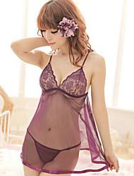 Damen Babydoll & slips / Besonders sexy Nachtwäsche einfarbig-Baumwoll-Mischungen Lila Damen