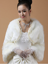 Wedding  Wraps / Fur Wraps Coats/Jackets Long Sleeve Lace / Faux Fur Ivory Party/Evening / Casual Open Front