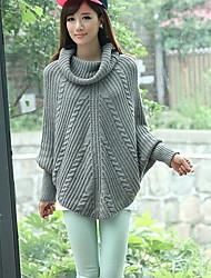 Di Handu Donne Grigio Moda coreana alto collo del manicotto del blocco tutto-fiammifero casuale Maglione con cappuccio