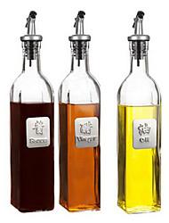 500ml 3-Pieces Glass Bottle Oil Bidon Vinegar Bottle Sauce Container