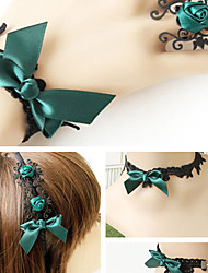 Handmade Hunter Green Bowknot Black Lace Classic Lolita Accessories Set