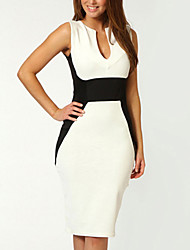 Women's Color Block White Dress , Bodycon/Work Deep U Sleeveless