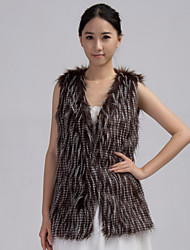 Fur Vest With Sleeveless Collarless In Faux Fur Casual Vest