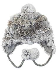 Deniso-Women's Grey Winter Cony Hair Hat