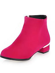 Zapatos de mujer - Tacón Robusto - Botas a la Moda - Botas - Casual - Ante - Negro / Azul