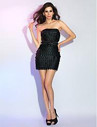 Cocktail Party / Holiday Dress - Black Plus Sizes / Petite Sheath/Column Strapless Short/Mini Satin / Polyester