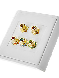 5 RCA Component Two-Piece Inset Wall Plate (RGB + Audio) Coupler Type
