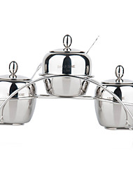 Stainless Steel Spice Box with Rack(Set of 4)