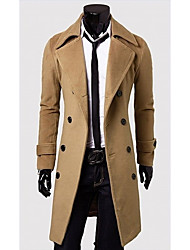 DAYD Men's Fashion Double-Breasted Tweed Coat  (Accessories Style,Pattern,Size,Color Random)(Khaki)