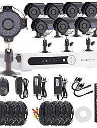 8-канальный канала D1 видеонаблюдения DVR система безопасности комплект (8шт 1/3 SONY CCD непогоды камера)
