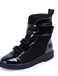 Couro Creepers calcanhar flat boots meados de bezerro