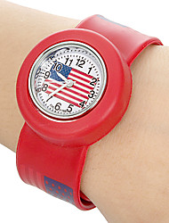 Children's US Flag Pattern Bendable Plastic Band Slap Watch (Assorted Colors) Cool Watches Unique Watches
