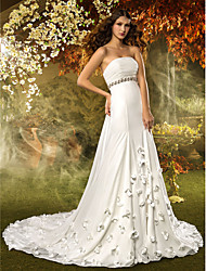 LAN TING BRIDE A-line Wedding Dress Simply Sublime Court Train Strapless Chiffon with Crystal Flower Ruche Sash / Ribbon