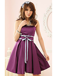 Women's Party Solid A Line / Skater Dress , Strapless Above Knee Others