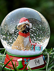Lovely Pug Decorative Crystal Ball Ornament Christmas Gift for Pet Lovers