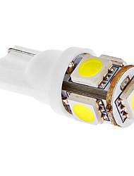 T10 1W 45lm 5x5050SMD 6000-7000K fresco White Light Bulb para carro (DC 12V) LED