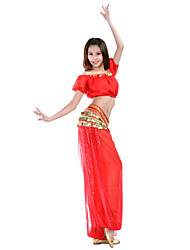 Belly Dance Outfits Women's Training Chiffon Coins / Sequins 2 Pieces Short Sleeve Natural Pants / Top